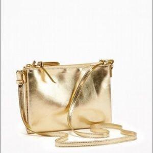 Old Navy Gold Dual Zip Crossbody Bag